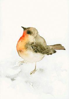 Bird Art Print from Original Watercolor Robin door dearpumpernickel