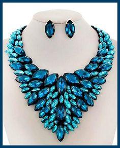 Blue Zircon Glass Necklace & Earring Set