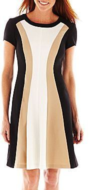 Studio 1 Cap-Sleeve Colorblock Dress - dress for pear body shape #pearbody
