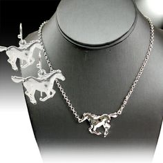Cowgirl Bling Ranch, LLC - Running Horse Necklace and Earring Set $9.99