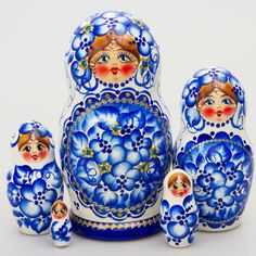 Gzhel Beauty Nesting Doll - This stunning matryoshka nesting doll is a true embodiment of the enchanting blue hues of Russia's lakes and rivers and the phenomenal white overtones of her beloved birch trees!