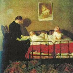 Reading a fairy tale by Christian Krohg born August 13, 1852 in Vestre Aker, Norway died October 16, 1925 (73) in Christiana, Norway
