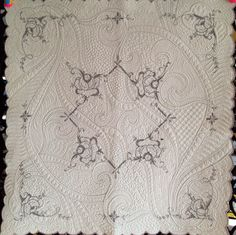 "30"" x 30"" vintage linen, machine quilted by Debbie Brown D'Ewart. Inspired by Sharon Schamber's Stipple Basics tutorial."