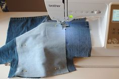 Earth Day DIY: Tote Bag from Upcycled Jeans - Stitching Sewcial Artisanats Denim, Denim Fabric, Denim Bag Patterns, Mochila Jeans, Patterned Jeans, Diy Tote Bag, Denim Crafts, Recycled Denim, Bias Tape