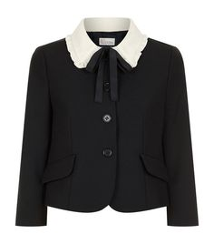 Red Valentino Frilled Collar Jacket available to buy at Harrods.Shop clothing online and earn Rewards points. School Blazer, Valentino Jacket, Designer Brands List, Crop Top Outfits, Professional Attire, T Shirt And Jeans, Aesthetic Clothes, Korean Fashion, Jackets For Women