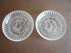 PEAR & GRAPE GLASS DISHES Pair FRUIT DECORATIONS Sawtooth Edges CANDY DISH picclick.com