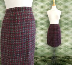 Vintage  Wool Skirt 1960s Check Straight short by DustyDesert