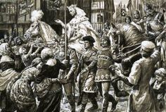 The English people welcome the rebel army of Queen Isabella and Roger Mortimer