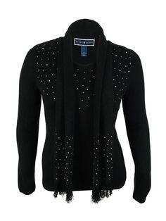 Karen Scott Women's Beaded Sweater & Scarf Set