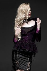 6d68fb2da6a7b Purple Gothic Two-Tone Plain Flocking Mesh Long Sleeves Outfit for Women