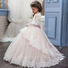 Mädchen Blumenmädchen Kleid Abendkleid Kommunions Hochzeit Festkleid Brautkleid 3