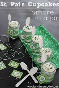 St. Patrick's Day Cupcakes - layers of Green Cake and Marshmallow Frosting make these fun Ombre Cupcakes in a Jar! Simple and easy to make! FREE Printable included! Pin to your St. Patrick's Day Board!