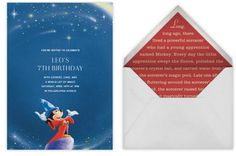 Disney party e-invitations from Paperless Post: The Sorcerer's Apprentice