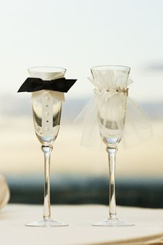 Bride & groom glasses #wedding reception ... Wedding ideas for brides, grooms, parents & planners ... https://itunes.apple.com/us/app/the-gold-wedding-planner/id498112599?ls=1=8 … plus how to organise an entire wedding, without overspending ♥ The Gold Wedding Planner iPhone App ♥