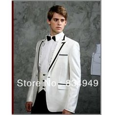 Custom Made to Measure men's BESPOKE suit,white jacket + black collar & pocket edge + black pants , Tailored fashion tuxedos-in Blazers from Men's Clothing & Accessories on Aliexpress.com | Alibaba Group