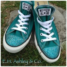 Swarovski ELEMENTS Flatbacks can make anything great look even more fabulous!  E.H. Ashley always carries a full stock of Flatbacks!  2058 Blue Zircon 16ss is used on these Converse www.ehashley.com #flatbacks #converse #chucks #swarovski