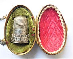 NO RESERVE c1890 Victorian Egg Chatelaine Thimble Holder Vintage Antique