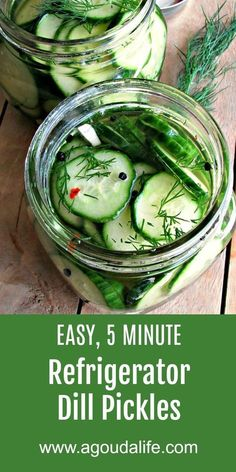 Easy Refrigerator Dill Pickles Recipe ~ tangy, loaded with dill and garlic flavo. - Easy Refrigerator Dill Pickles Recipe ~ tangy, loaded with dill and garlic flavors. Prepped and rea - Gouda, Cucumber Recipes, Vegetable Recipes, Dill Pickle Recipes, Recipes With Dill, Dill Pickle Relish, Simple Recipes, Homemade Pickles, Pickles Recipe