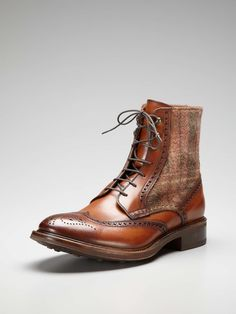 Leather Wingtip Ankle Boots