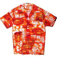 Men's Vintage Cotton Aloha Hawaiian Shirt Hot Tiki Print Size Medium