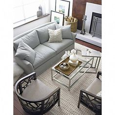 Era Rectangular Glass Coffee Table - Crate and Barrel Cute Living Room, Classy Living Room, Living Room Sofa Design, Living Room Sets, Living Room Furniture, Living Room Decor, Dining Room, Cozy Living, Coffee Table Crate And Barrel