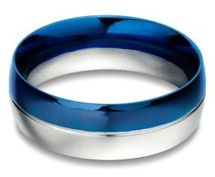 Cobalt Blue Stainless Steel Mens Ring -