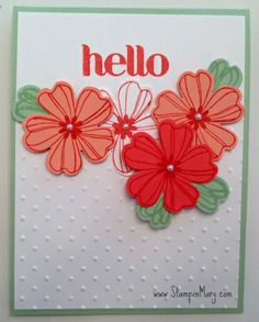 These colors are so clean and fresh.   Calypso Coral Ink was used on Whisper White, Crisp Cantaloup and Calypso Coral Card Stock for the flowers.   The LEAVES are sections of a flower stamped in Pistachio Pudding.Perfect Polka Dots Embossing Folder  is the perfect background for these lovely flowers.  You can find the Hello sentiment in the For Fun Stamp Set As always, don't forget to give your envelopes special treatment.