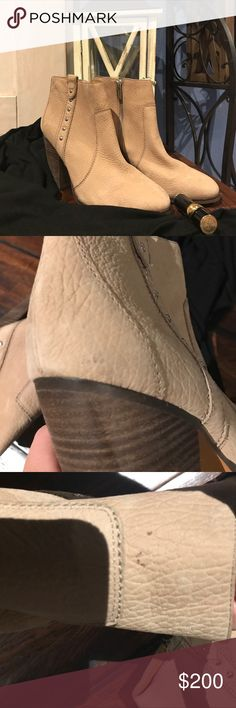 Coach studded ankle boots Worn 2x.  Once out of the store and once to my kids hockey game.  I love them.  They hurt my feet.  I'll try and find the box but right now they don't have one.  They have a couple scuffs that are noted in the photos, I have never tried to get them off but you probably can. Coach Shoes Ankle Boots & Booties