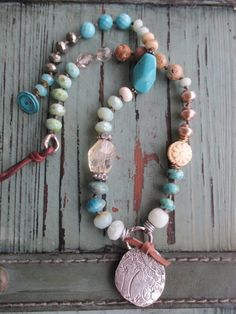 Knotted colorful necklace - Grow - sterling silver tree organic semi precious stone earthy blue green tan fall boho by slashKnots