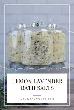 How to make an easy lemon lavender bath salts recipe with essential oils. These use aromatherapy to Bath Recipes, No Salt Recipes, Lavender Bath Salts, Lush Bath, Diy Bath Salts Lemon, Diy Bath Salts With Epsom Salt, Diy Bath Salts Easy, Homemade Bath Salts, Diy Aromatherapy Bath Salts