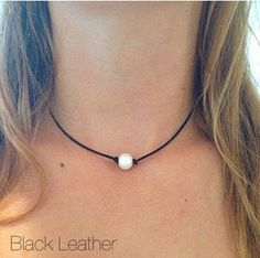 Single Freshwater Pearl Leather Choker by AlliesCharms on Etsy