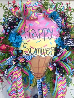 Bright and Colorful Ice Cream Mesh Summer Wreath by WilliamsFloral on Etsy https://www.etsy.com/listing/385705538/bright-and-colorful-ice-cream-mesh