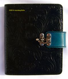 Refillable Leather Folio A6 Compendium - Floral Embossed - Black / Turquoise Handmade Leather, Turquoise, Belt, Floral, Accessories, Black, Fashion, Belts, Moda