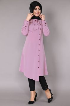 Stunning Button Front Tunic Outfit Ideas for Hijabies – Girls Hijab Style & Hijab Fashion Ideas Islamic Fashion, Muslim Fashion, Modest Fashion, Fashion Dresses, Hijab Outfit, Girl Hijab, Kurta Designs, Blouse Designs, Modest Dresses
