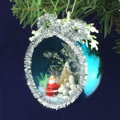 $15. Hand crafted plastic Christmas Ornament Diorama Santa by ChristmasNotebook on Etsy