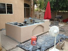 Synthetic stucco used on an outdoor kitchen