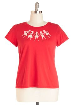 Global Garland Tee in Plus Size. Celebrate the multicultural, and multifarious fashions of you and your besties by wearing this friendly red tee by Blue Platypus! #red #modcloth