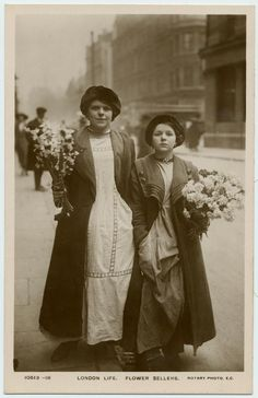 "London flower sellers. Flower sellers were known as ""Mary Ellens"""