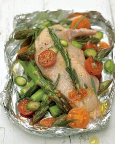 Roasted Chicken Breast with Cherry Tomatoes and Asparagus #recipe #chicken