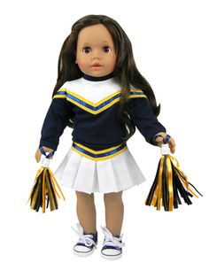 Green Cheerleader Doll Clothes with Real Poms Fits 18 Inch American Girl Dolls