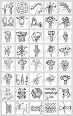 Black and White Knot Drawings, 40 images on a digital collage sheet. Most of these images are ways to tie off rope ends to prevent unraveling and to provide a stop to prevent the rope end from sliding through your hand.