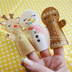 ChristmasFingerPuppets_pa .. Comes with gingerbread man, snowman, and reindeer for the 4x4 hoop!!