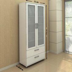 Estante Livramento Branca com Portas de Vidro - Politorno Móveis