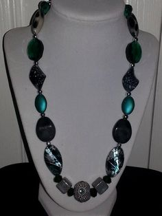 Blue+green+and+grey+Jesse+James+beaded+necklace+on+sterling