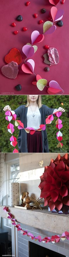 Heart Garland for Valentine's Day Decor - www.LiaGriffith.com #Valentinesdecor #ValentinesDay #Hearts