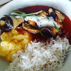 #melanzani #lilasfood #oberwart Rice, Chicken, Meat, Instagram Posts, Food, Essen, Meals, Yemek, Laughter
