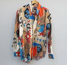 90s vintage mens Wrangler western shirt colorful by KFTvintage, $23.00 /// www.art-by-ken.com