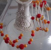 Red/Yellow Wrap Bracelet with Nieko's Drop Hoops Earrings