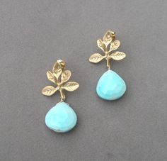 Turquoise and gold leaf earrings