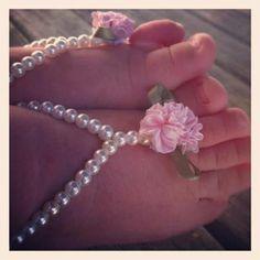 Baby barefoot sandals, baby girl jewelry, baby keepsake, flower girl, baptism, white beaded baby , christening,  pink flower baby jewelry. $19.99, via Etsy.